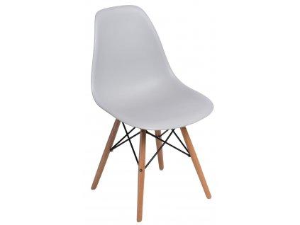 Světle šedá plastová židle DSW s bukovou podnoží