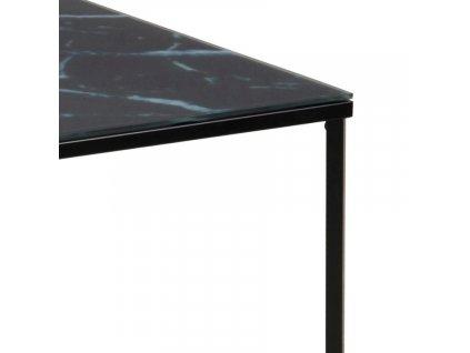 Černý skleněný konferenční stolek Venice 80x80 cm, sklo s mramorovým potiskem, černě lakovaný kov