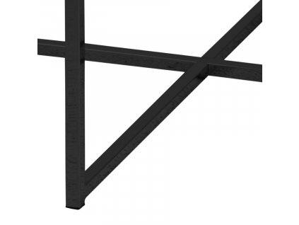 Černý skleněný konferenční stolek Venice 80 cm, sklo s mramorovým vzhledem, černě lakovaný kov