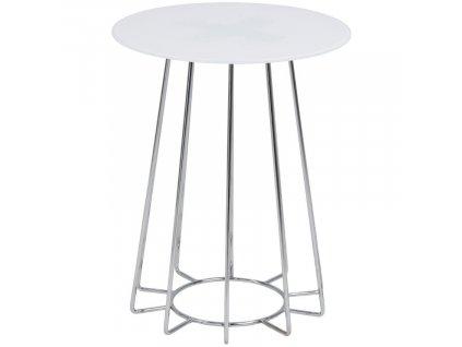 Bílý odkládací stolek Goldy 40 cm s chromovou podnoží, sklo, chromovaná podnož