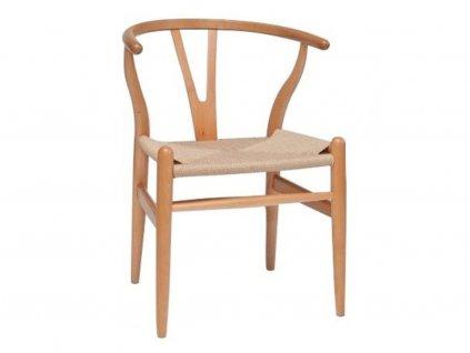 Béžová dřevěná jídelní židle Bounce