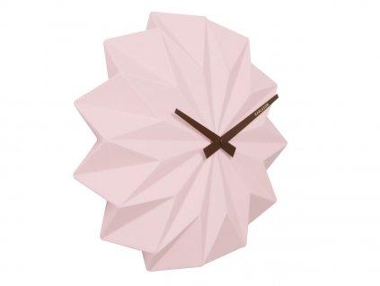 Růžové keramické nástěnné hodiny Crane