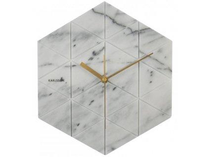 Bílé mramorové nástěnné hodiny Trix 25x28,5 cm
