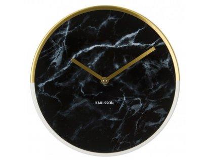 Černé nástěnné mramorové zlaté bílé hodiny Double Gold 30 cm