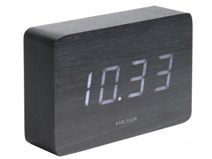 Černý dřevěný budík Level I. s bílý LED displejem