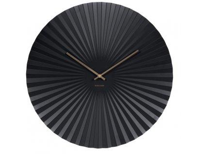 Černé kulaté nástěnné kovové hodiny Trivet 40 cm