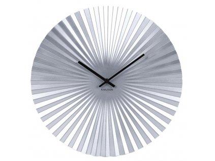 Stříbrné kulaté nástěnné kovové hodiny Trivet 40 cm
