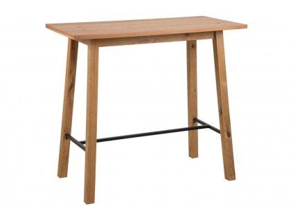 Přírodní dubový barový stůl Rachel 117 cm, lakovaná dubová dýha, MDF, černě lakovaný kov