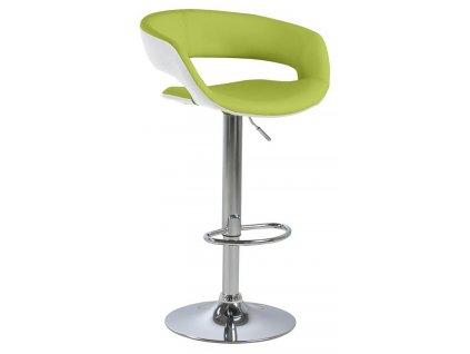Zelená otočná barová židle Garry, chromová podnož