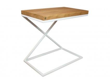 Dubový odkládací stolek Beirut 50 x 30 cm s bílou podnoží