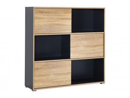 Antracitově šedá dřevěná knihovna Germania Slide 4038-161 120 x 35 cm