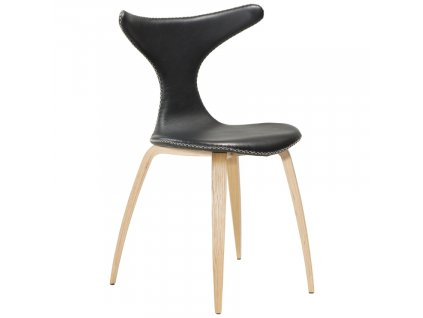 Černá kožená jídelní židle DAN-FORM Dolphin s dubovou podnoží