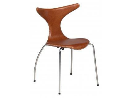 Světle hnědá kožená židle DanForm Dolphin