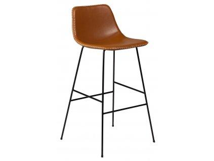 Koňakově hnědá koženková barová židle DanForm Floss