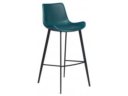 Petrolejová koženková barová židle DanForm Hype