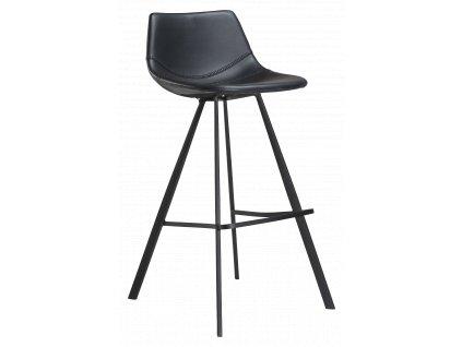 Černá koženková barová židle DanForm Pitch