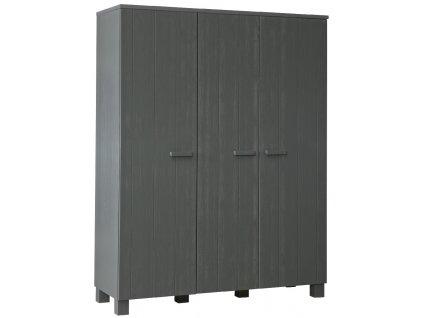 Tmavě šedá dřevěná skříň Koben 158 cm