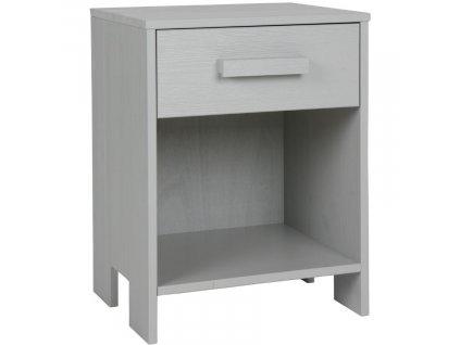 Světle šedý dřevěný noční stolek Koben