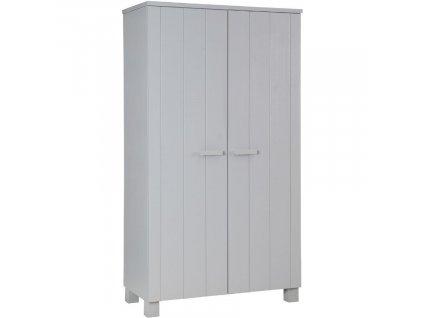 Světele šedá dřevěná šatní skříň Koben 111 cm borovice masiv