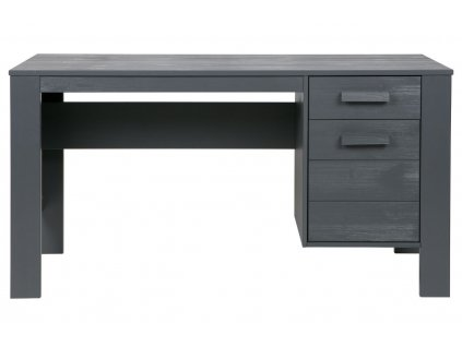 Tmavě šedý dřevěný pracovní stůl Koben 141 cm s úložným prostorem borovice masiv