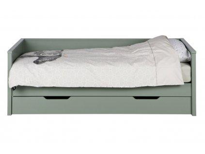 Zelená postel Warde 90x200 cm