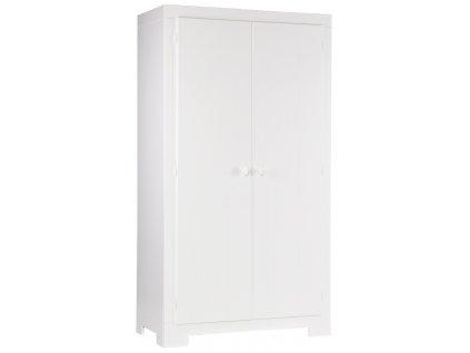 Bílá masivní šatní skříň Warde