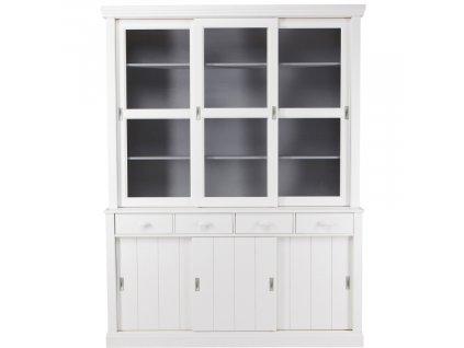 Bílá masivní vitrína Ariel 214 cm