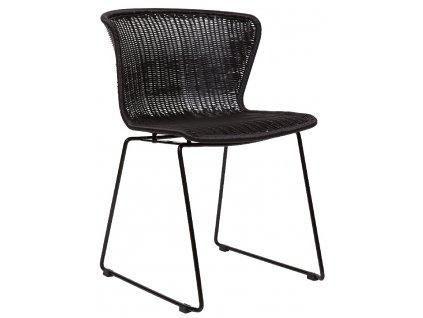 Černá vyplétaná židle Leon