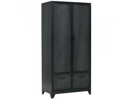 Černá kovová šatní skříň Gym