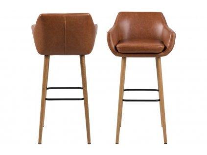 Hnědá barová židle Marte, ekokůže, masivní dubové dřevo ošetřené olejem, kovovová chromovaná opěrka na nohy