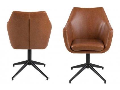 Hnědá otočná jídelní židle Marte, ekokůže, lakovaný chromovaný kov černé barvy