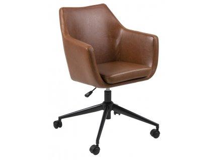 Hnědá kancelářská židle Marte z ekokůže, chromovaná podnož černé barvy