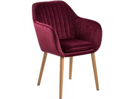 Červená sametová jídelní židle Milla s prošíváním