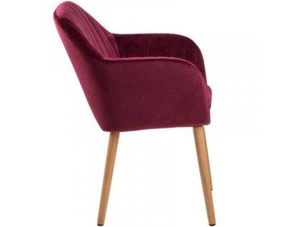 Červená sametová jídelní židle  Milla s prošíváním, sametová látka, olejované dubové dřevo