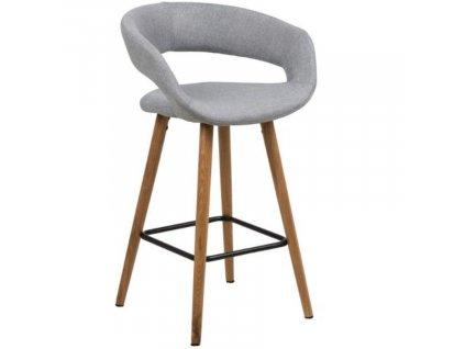 Světle šedá látková barová židle Garry 66 cm