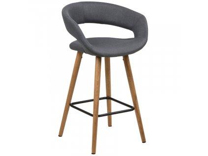 Šedá látková barová židle Garry 66 cm