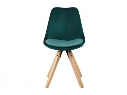 Lahvově zelená sametová jídelní židle Damian s přírodní podnoží