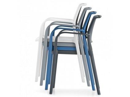 Modrá plastová jídelní židle ARA 315