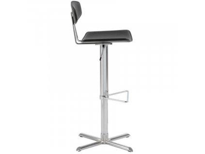 Černá kožená barová židle Jaris, regenerovaná kůže, chromovaná podnož