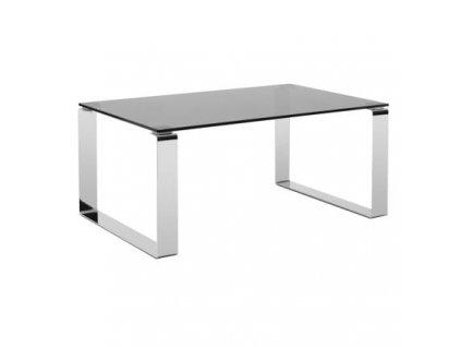 Skleněný konferenční stolek MARBET CUBBY s chromovou podnoží 90x60 cm