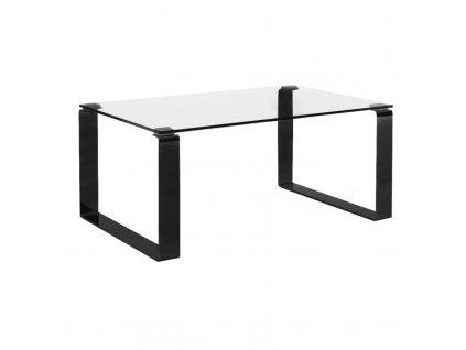 Skleněný konferenční stolek MARBET CUBBY s černou podnoží