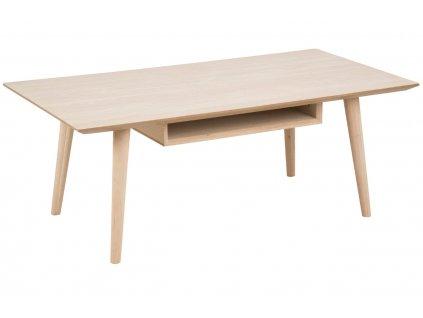 Světlý dubový konferenční stolek Celia 115 cm, dubová dýha, MDF, podnož z masivního dubového dřeva, ošetřeno lakem s bílým pigmentem