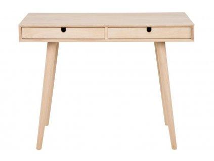 Přírodní dubový pracovní stůl Celia, deska z dubové dýhy, podnož z masivního dubového dřeva. Ošetřeno olejem s bílou pigmentací
