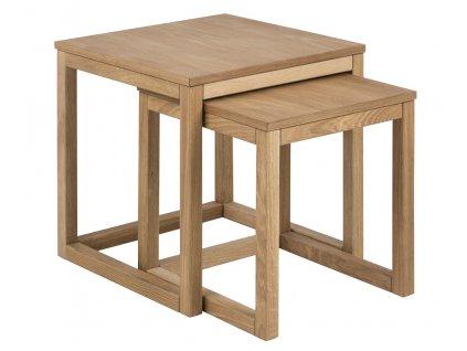 Dubový set konferenčních stolků Bony 50 cm, dubová dýha ošetřena olejem