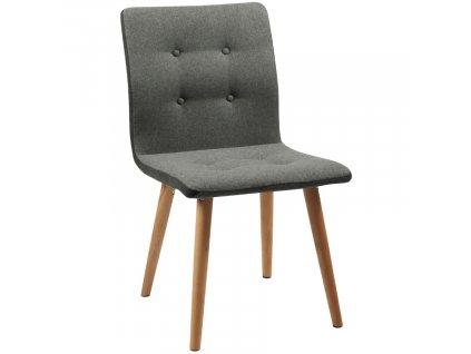 Šedá látková jídelní židle Fredy,látka, masivní dubové dřevo ošetřené olejem