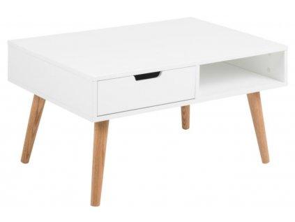 Bílý konferenční stolek Marika 80 cm, MDF lakovaná matným bílým lakem, nohy z masivního dubového dřeva