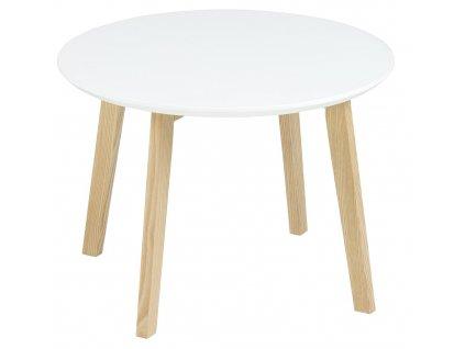 Bílý odkládací stolek Wingle 50 cm, lakované MDF, masivní podnož z jasanového dřeva