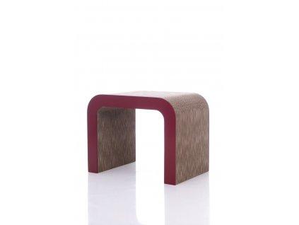 Elegantní přírodní stolek Tox s červeným lemováním