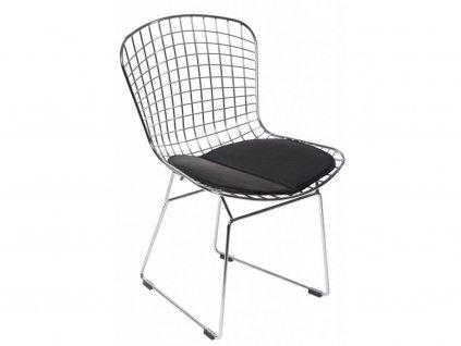 Designová chromová židle Harry s černým čalouněným podsedákem