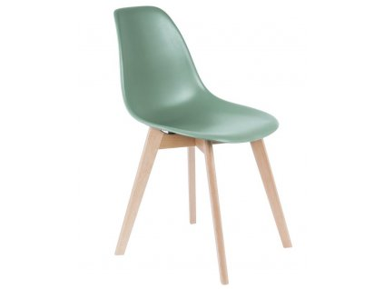 Zelená plastová jídelní židle Artas s bukovou podnoží